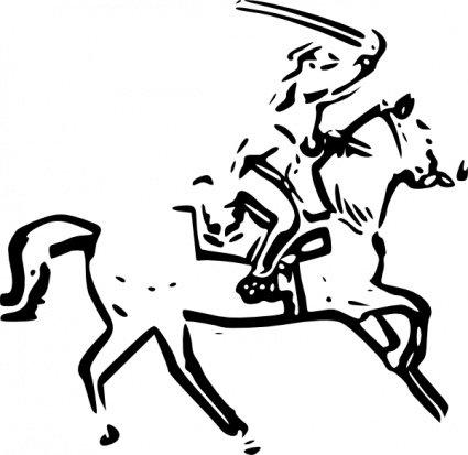 425x413 Warrior Horse Sword, Clip Arts