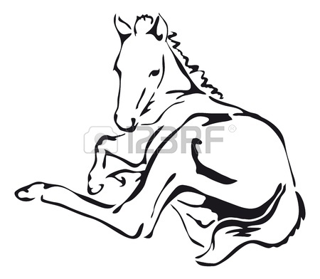 450x392 Black And White Outlines Of Horse Royalty Free Cliparts, Vectors