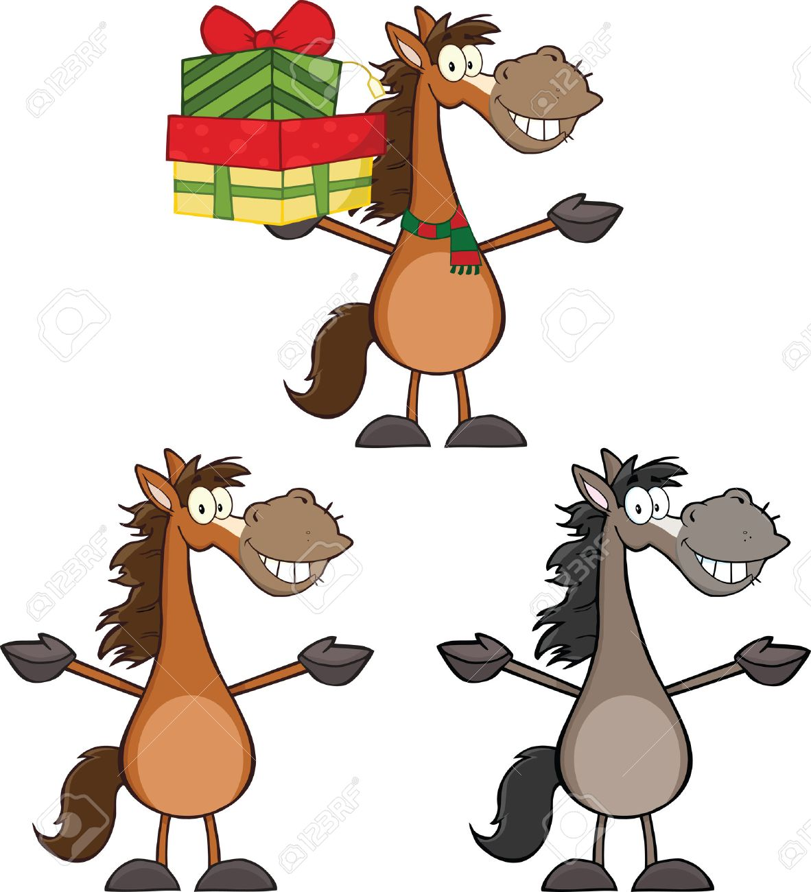1182x1300 Horses Cartoon Characters 2 Collection Set Royalty Free Cliparts