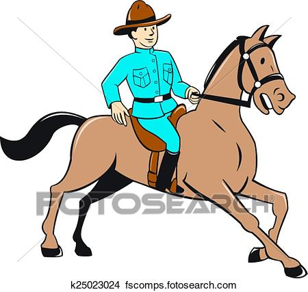 450x427 Clipart Of Mounted Police Officer Riding Horse Cartoon K25023024