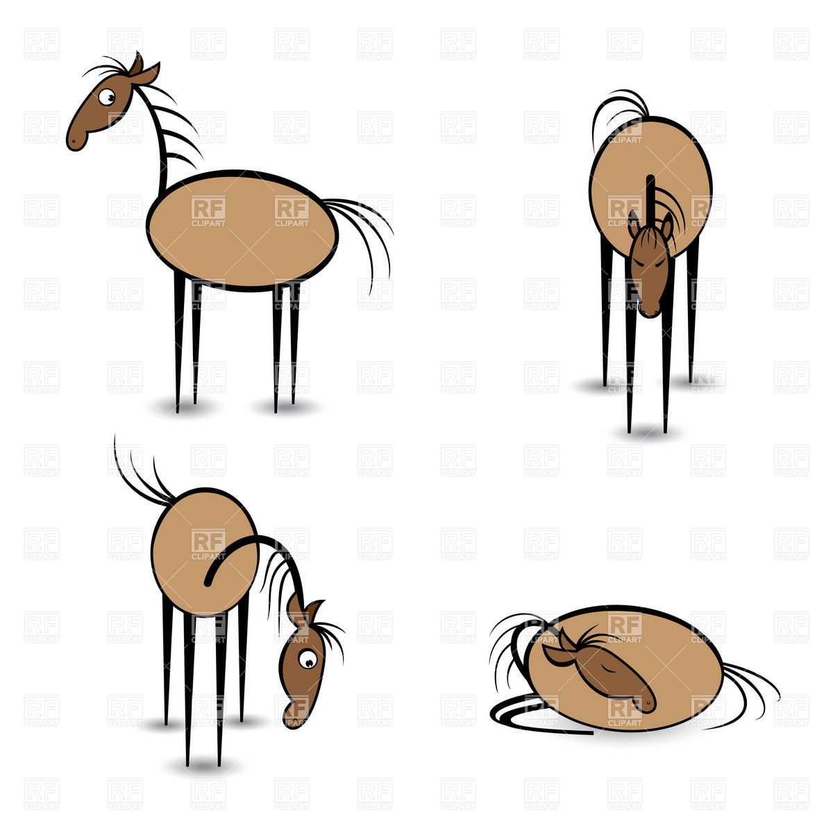 1200x1200 Funny Horses In Different Positions Royalty Free Vector Clip Art