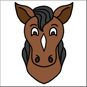 304x304 Clip Art Cartoon Animal Faces Horse Color I Abcteach