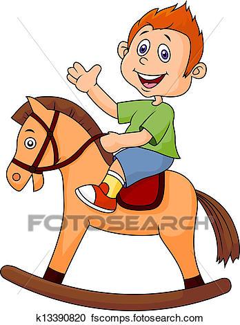 348x470 Clipart Of Cartoon Boy Riding A Horse Toy K13390820