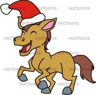 320x315 Joyful Horse Christmas Illustration