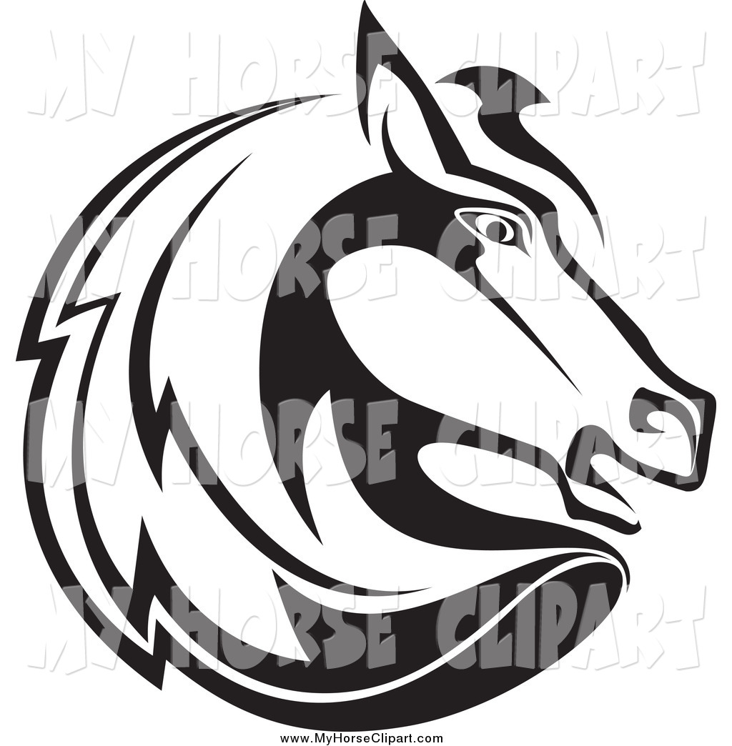 1024x1044 Clip Art Of A Black And White Horse Head Facing Right By Vector
