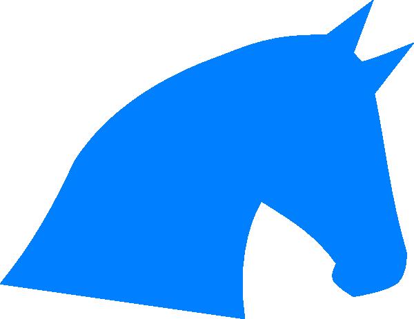 600x463 Blue Horse Head Silhouette Clip Art