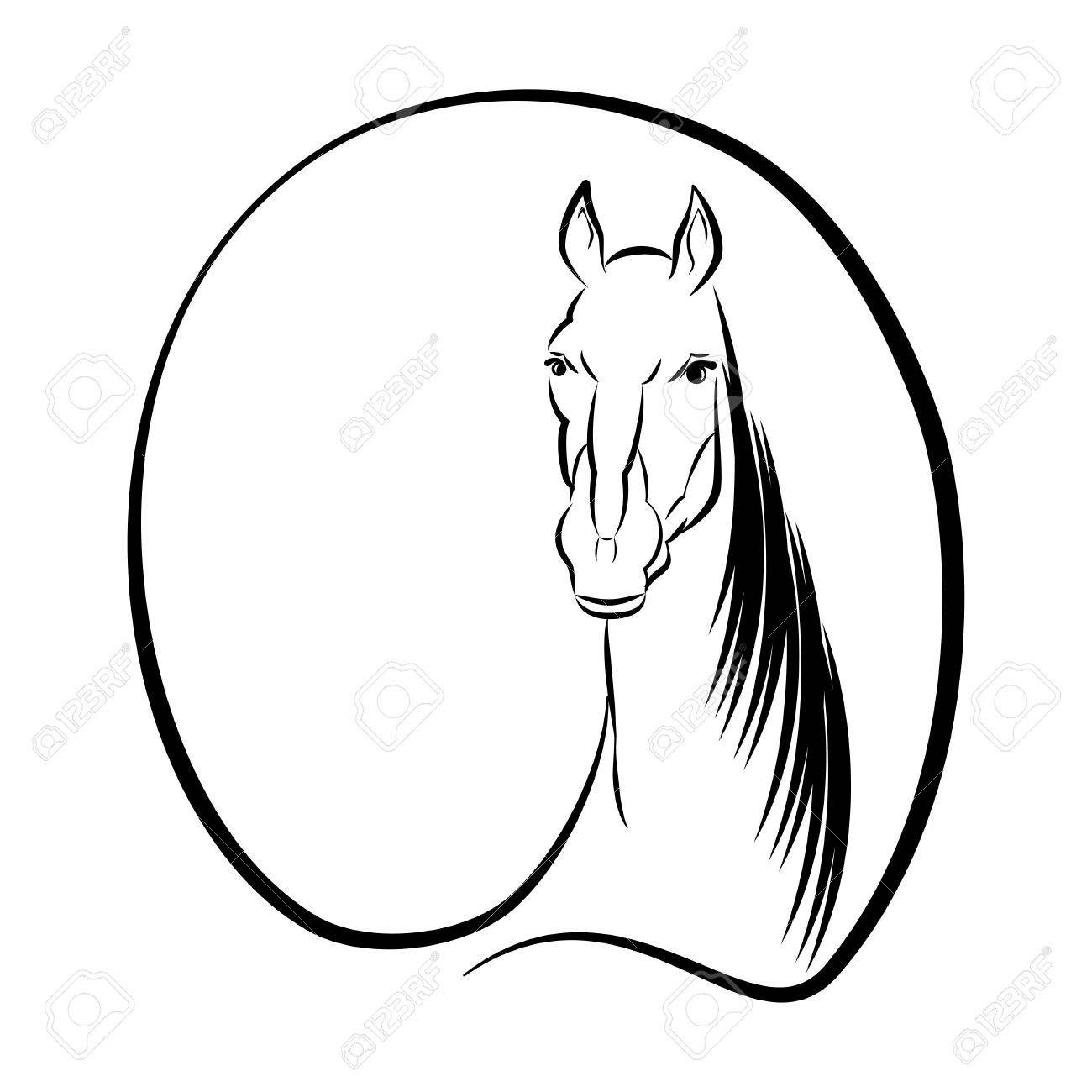 1300x1300 Horse Black And White Drawing With Space For Text Vector