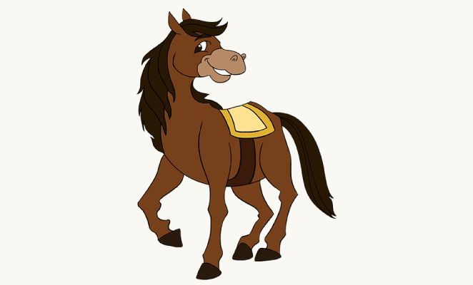 662x400 How To Draw A Cartoon Horse Easy Drawing Guides