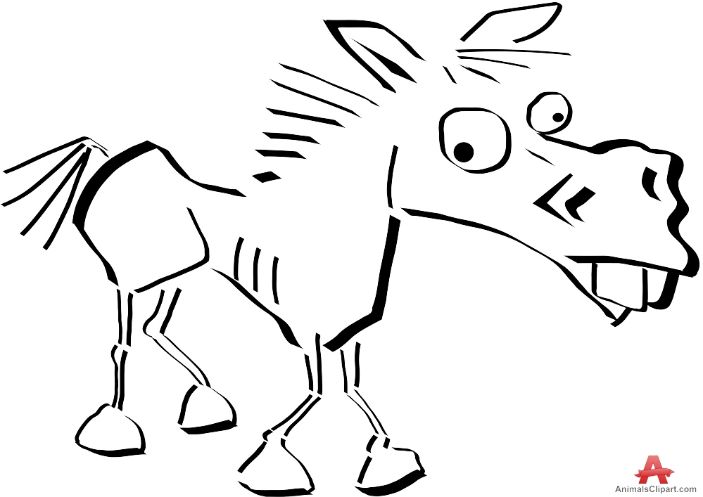 999x707 Outline Funny Horse Drawing Character Free Clipart Design Download