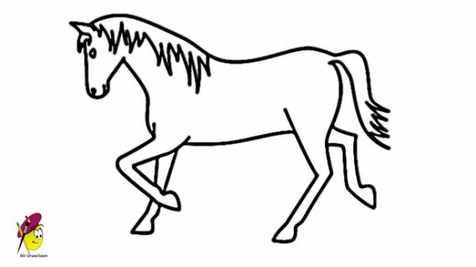687x386 Coloring Pages Horse Drawing For Kids Template 19 Coloring Pages