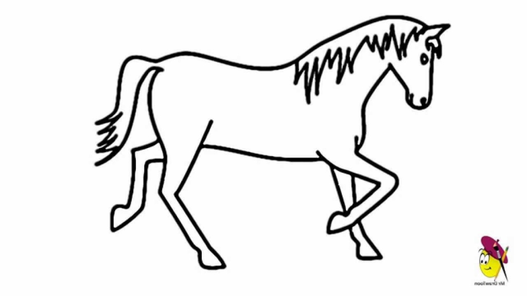 1024x576 Easy Drawing Of Horse Horse Easy Drawing How To Draw A Horse