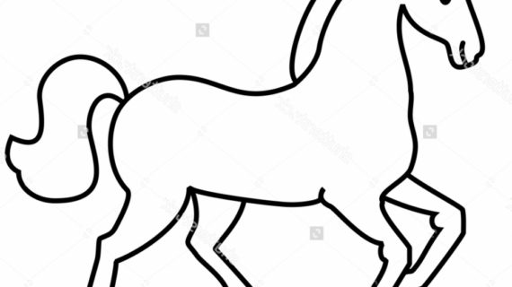 570x320 Simple Line Drawing Of A Horse Simple Horse Drawing