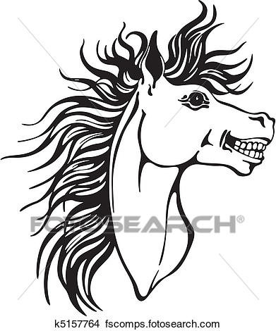 391x470 Clipart Of Horse Head Design K5157764