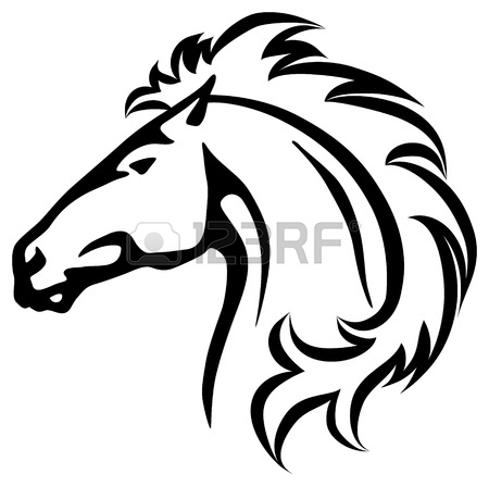 450x447 Vector Illustration Of A Wild Horse Head Royalty Free Cliparts