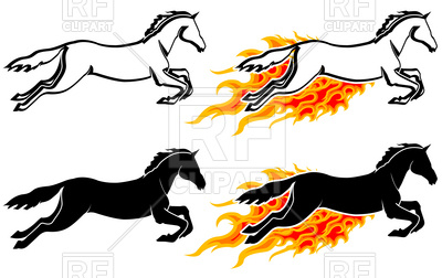 400x252 Running Horse Silhouette In Flame Royalty Free Vector Clip Art