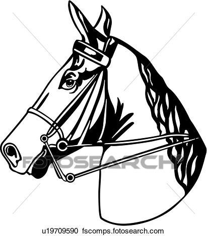 4ceade9f9ab 411x470 Clipart Of , Animal, Breeds, Head, Horse, Tack, U19709590