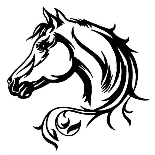640x640 Elegant Horse Head Car Decal Horse Kin