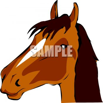 350x347 Picture Of A Cartoon Of A Horses Head In A Vector Clip Art