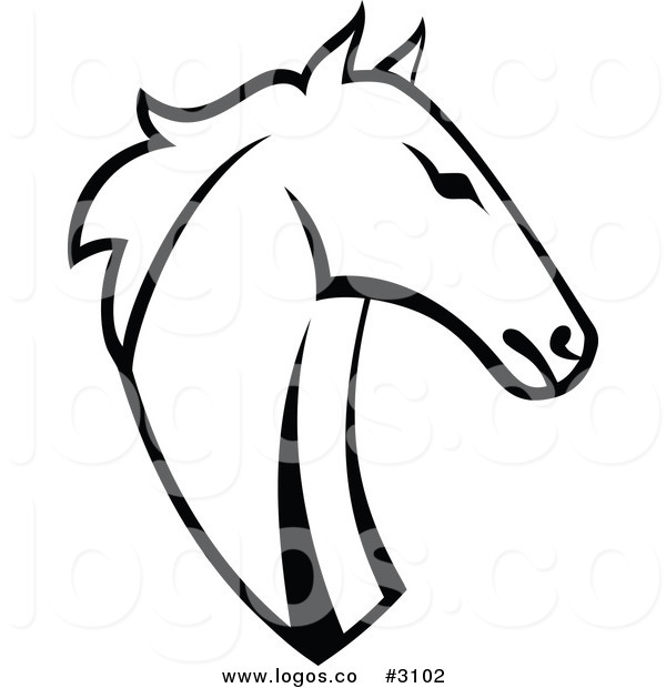 600x620 Royalty Free Vector Black And White Horse Head Logo By Vector