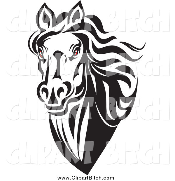 600x620 Clip Vector Art Of A Red Eyed Black And White Horse Head By Vector