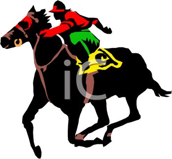350x325 Picture Of A Jockey Riding A Horse In A Race In A Vector Clip Art