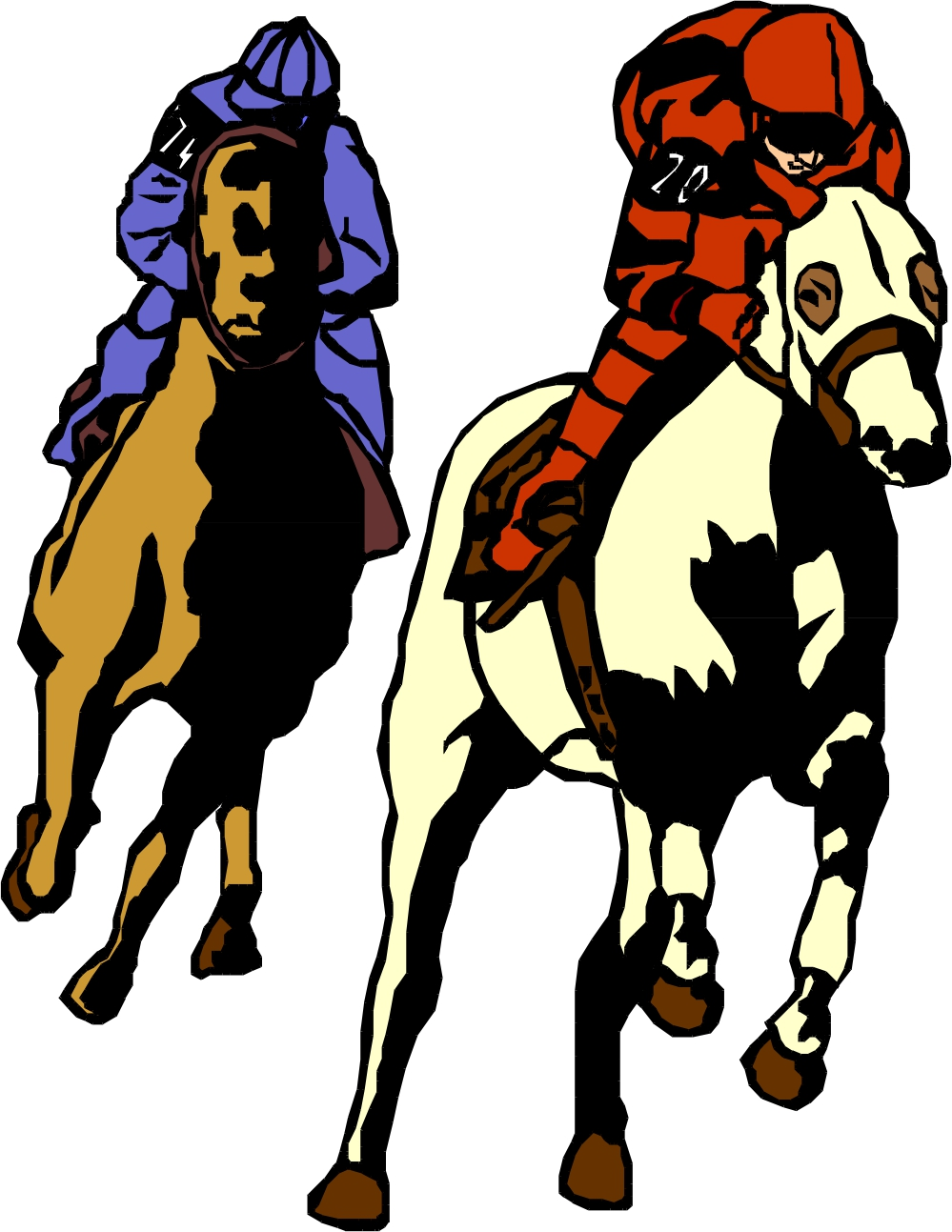 999x1293 Race Horse Racing Clipart Image