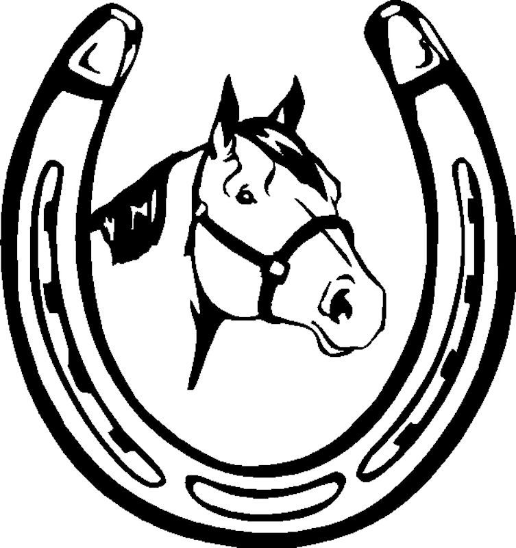 753x800 Horse Head And Horse Shoe Decal