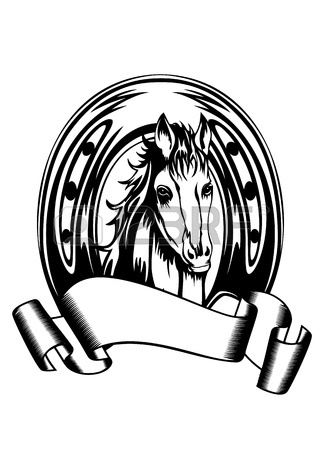 324x450 Vector Illustration Heads Horses And Horse Shoe Royalty Free
