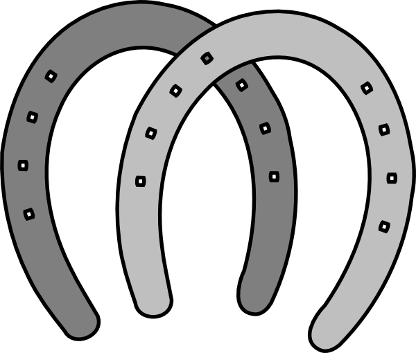 600x510 Double Horeshoes Gray Clip Art
