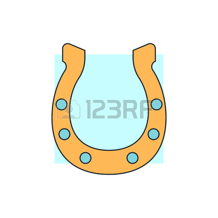 450x450 Lucky Horseshoes Icons With Decorative Ornaments Of Nail Holes
