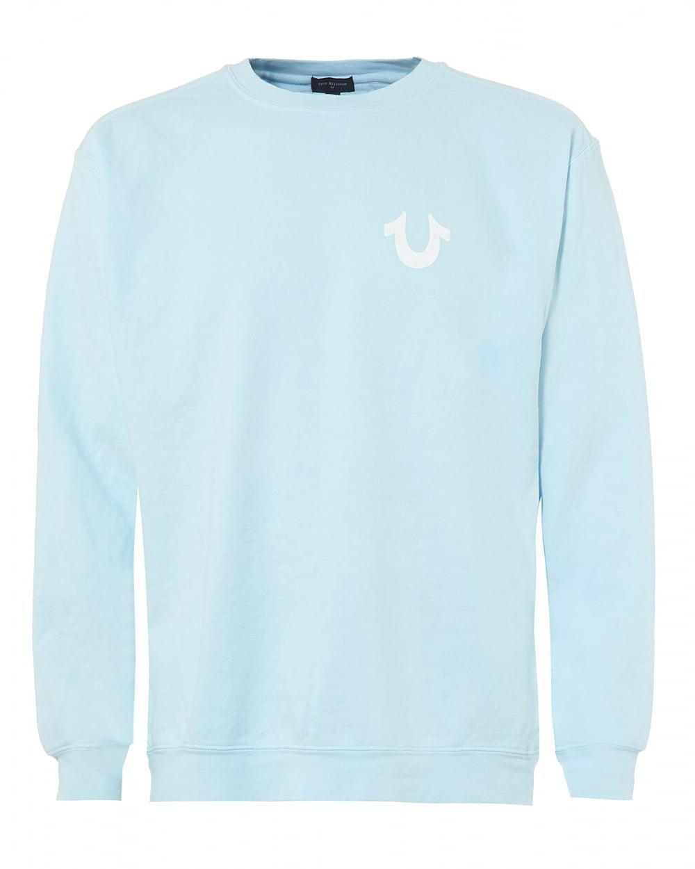 1000x1250 True Religion Sky Blue Sweatshirt, White Horseshoe Logo Graphic