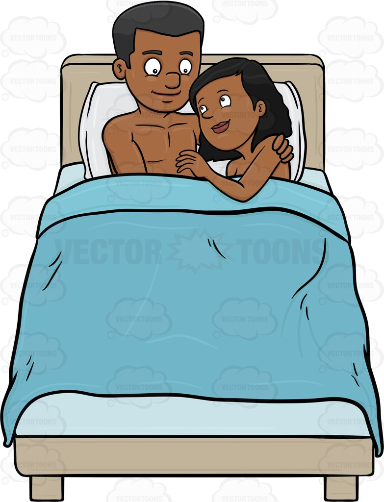 Cartoon couples in bed