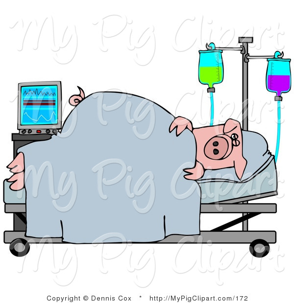600x620 Swine Clipart Of A Sick Pink Pig Resting In A Hospital Bed By