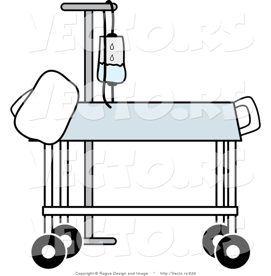 1024x1044 Vector Of A Hospital Gurney Beside IV Stand In Medical Room By