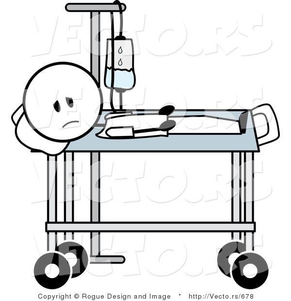 600x620 Vector Of A Stick Man Laying On Gurney By Pams Clipart
