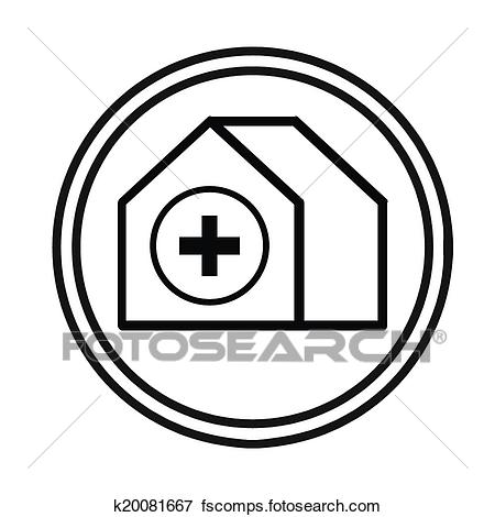 450x470 Clip Art Of Hospital Building Symbol Vector K20081667