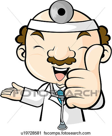 389x470 Clipart Of Medical Care, Doctor`s Mirror, Mustache, Medical Gown