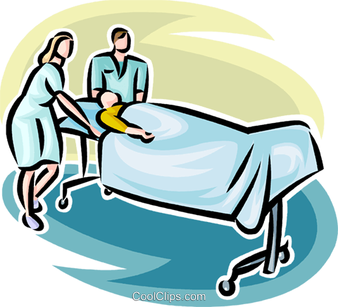 480x437 Person On A Gurney With Hospital Staff Royalty Free Vector Clip