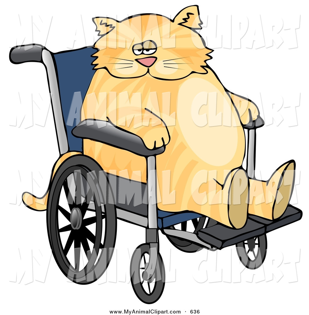 1024x1044 Clip Art of a Chubby Ginger Cat Sitting in a Wheelchair in a