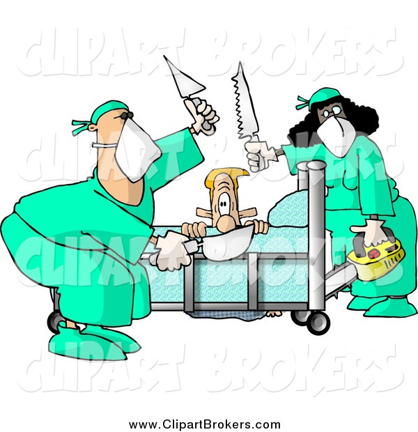 600x620 Clip Art of a Male Patient Getting Limbs Amputated by Doctors