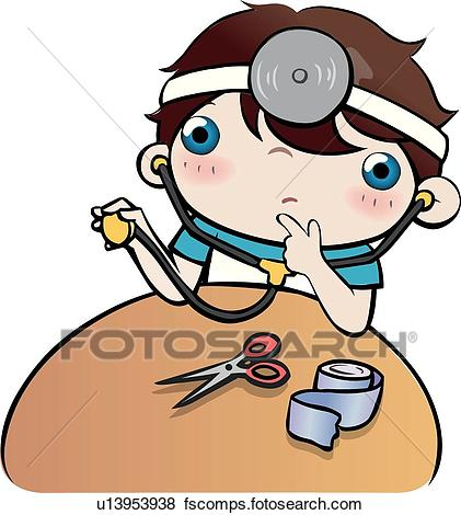 421x470 Stock Illustration of Treatment, School life, medical examination