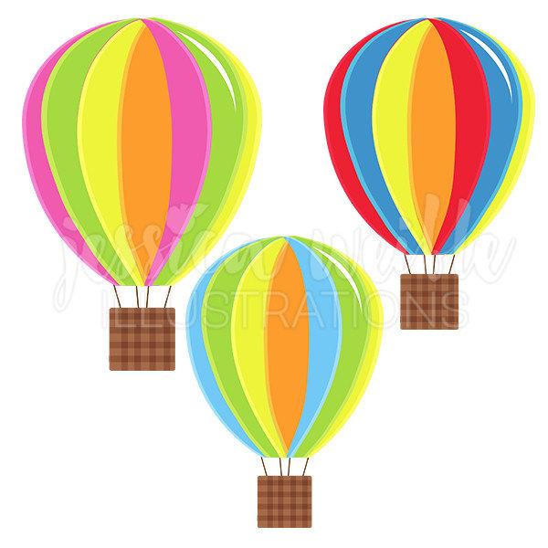 600x600 Hot Air Balloons Cute Digital Clipart Fun Striped Hot Air