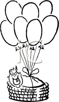 204x350 Hot Air Balloon Basket Clip Art Black And White Clipart Panda