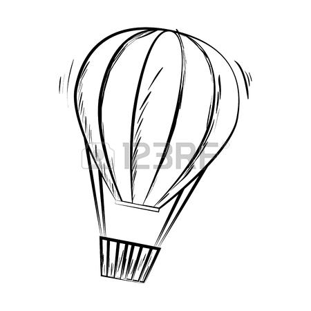 450x450 Hot Balloon Air Stripes Sketch Fire Travel Basket Sky Vector