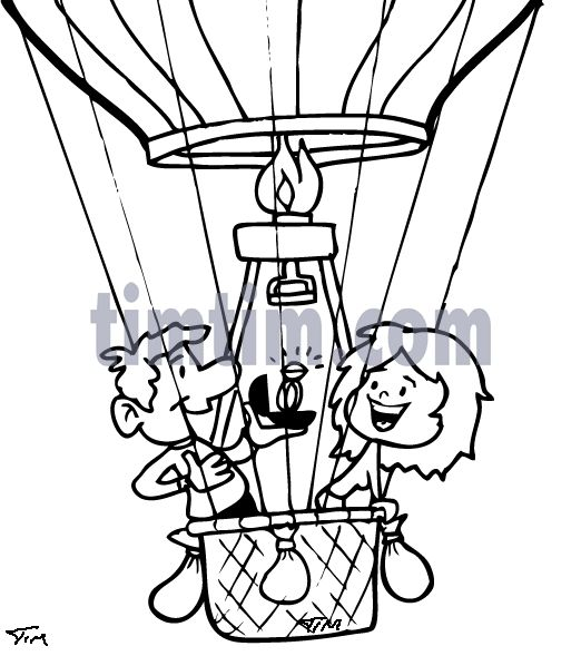 522x589 Drawings Of People In A Hot Air Ballon Hot Air Proposal Bw