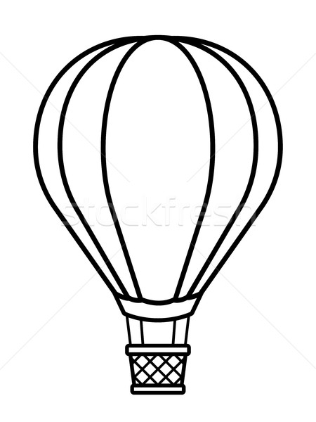 450x600 Vector Illustration Of Silhouette Hot Air Balloon Vector