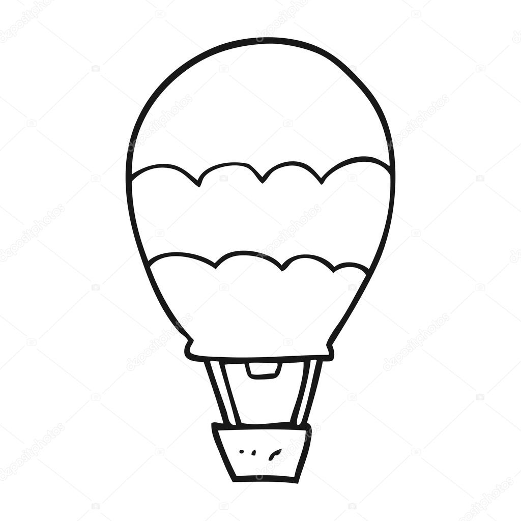 1024x1024 Black And White Cartoon Hot Air Balloon Stock Vector
