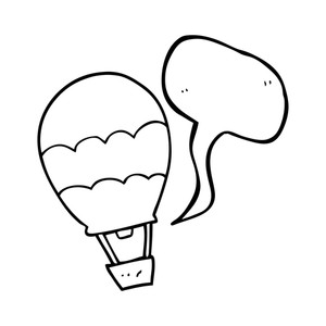 300x300 Freehand Drawn Black And White Cartoon Hot Air Balloon Royalty