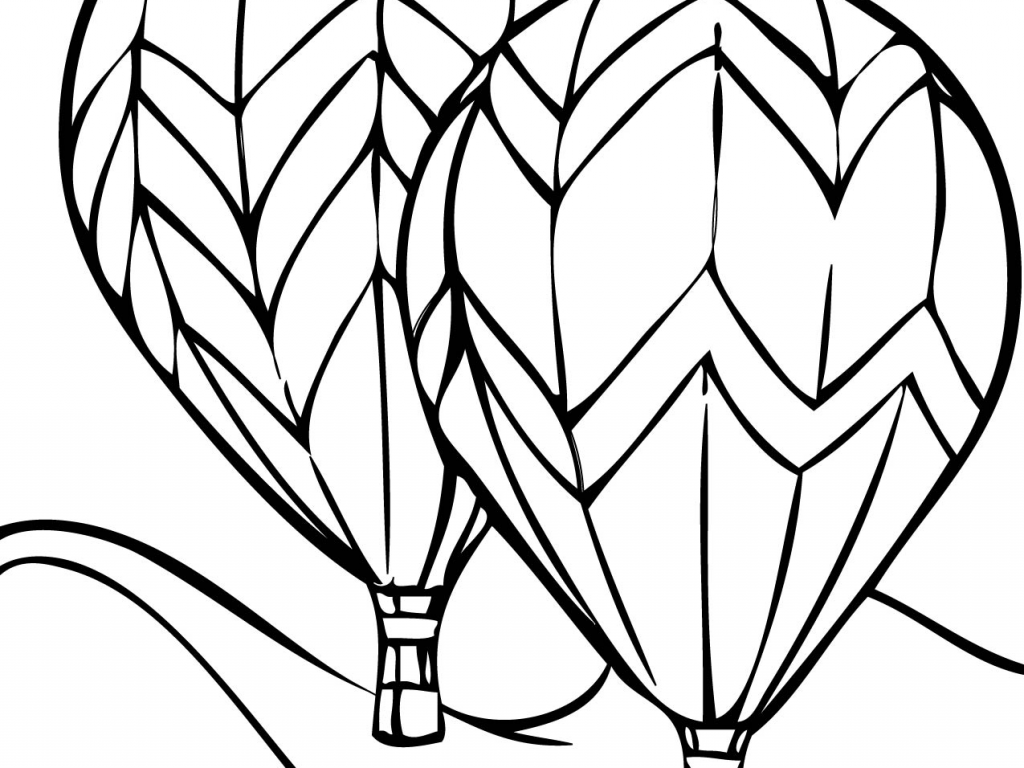 1024x768 Incredible Hot Air Balloon Coloring Page With Balloon Coloring
