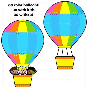 350x350 Hot Air Balloon Clip Art By Dancing Crayon Designs Tpt